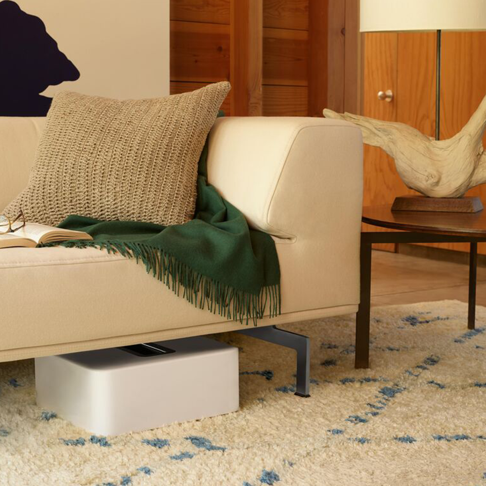Sonos Sub hidden under sofa